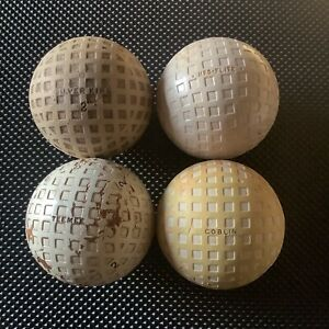 4X MESH GOLF BALLS,SILVERKING,TEEMEE,GOBLIN,KRO-FLITE,CIRCA 1920's VINTAGE.