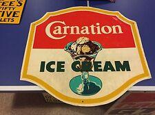 RARE Vintage Carnation Ice Cream Aluminum Sign Dairy Milk Ad Sundae Graphic