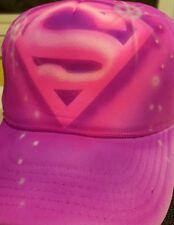 Custom Airbrush Supergirl Trucker Hat! Super Hero Superman Super Girl Pink