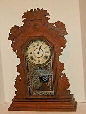 Antique Ingraham Oak Case 8 Day Time & Strike Gingerbread Kitchen Clock Working
