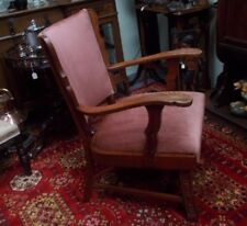 Antique Flemish Solid Oak Carved Library Arm Chair Pink