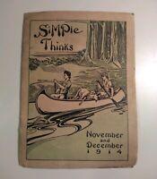 November and December 1914 Simple Thinks Magazine World War Pamphlet WW1 WW2