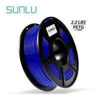 SUNLU PETG 3D Printer Filament 1.75mm 1KG/2.2LB Spool Blue 3D Printer Material