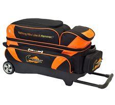 Hammer 3 Ball Deluxe Roller Bowling Bag with Urethane Wheels Black/Orange