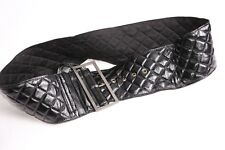 Great Black Textured Quilted Women Waist Belt with Skinny Rectangle Buckle(S385)