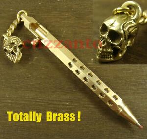 Solid brass Bolt Action ball point pen + brass chain + skull pendant H510