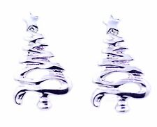 silver tone Christmas tree earrings with star on top