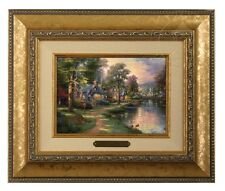 Thomas Kinkade Hometown Lake Framed Brushwork (Gold Frame)