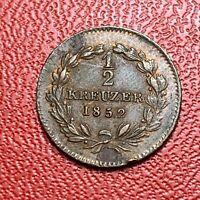 #3655 - RARE - Allemagne 1/2 Kreuzer 1852 TTB+/SUP - FACTURE