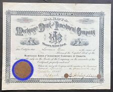 MORTGAGE BANK & INVESTMENT CO. of DAKOTA Stock 1888. Ipswich, Edmunds County, SD