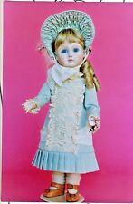"16""Antique French Jumeau/Bru German Girl Doll Low-Waist Dress&Bonnet/Hat Pattern"