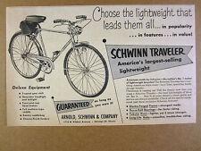 1952 Schwinn Traveler 3-speed Bike Bicycle vintage print Ad