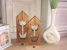"Holzdeko ""Tulpe"" Douglasie, #1, H/B/T: 32,5 x 13,5 x 4cm, handgefertigt"