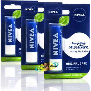 3x Nivea Original Care Caring Long Lasting Moisturising Lip Balm 4.8g