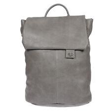 City Damen Rucksack mit Notebook Tablet Fach Leder Optik Tasche Grau Backpack