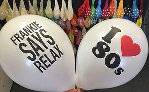 10 X I ❤️ 80's, Frankie Says Relax, Helium Balloons Retro Party Love 1980's 80s