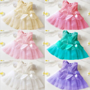 Baby Girl Kids Tutu Tulle Dress Princess Party Flower Dresses Wedding Bridesmaid
