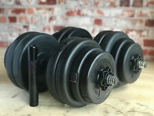 30kg Adjustable Dumbbell Set Vinyl Weight Plates Barbell Link Spinlock Collars