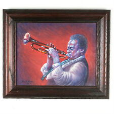 """""""Miles Davis"""" By Anthony Sidoni 2001 Signed Oil Painting 15 1/2""""x18"""""""