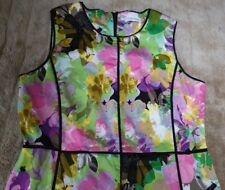SIZE 14 CALVIN KLEIN DRESS,COTTON STRETCH,COLOURFUL,FITTED,KN LGTH,HIGH W,EX CON