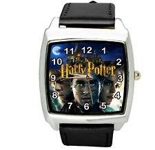 HARRY POTTER E2 WIZARD MAGIC BOOK FILM MOVIE DVD GAME BLACK LEATHER SQUARE WATCH