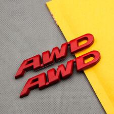 2Pcs Red Metal Small AWD Off Road Emblem All Wheel Drive Badge 3D Logo Sticker
