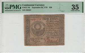SEPTEMBER 26 1778 CONTINENTAL CURRENCY NOTE CC-83 $30 PMG VERY FINE VF 35 (036)