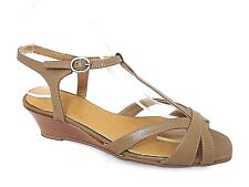 J G LADIES TAUPE LEATHER WEDGE HEELS NARROW FIT SANDALS WOMANS UK 5 - EUR 38