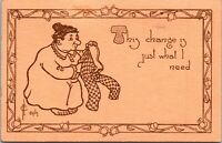 """1912 Comic Postcard Artist Signed FJ Haffner """"This change is just what I need"""""""