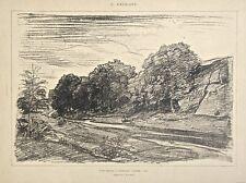 Charles Francois Daubigny Original Lithograph of Landscape