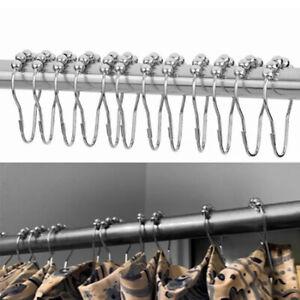 12pc Stainless Steel Curtain Hooks Bath Rollerball Shower Curtains Glide  TDU AP