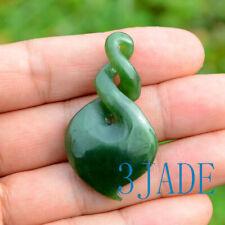 New listing 47mm Green Nephrite Jade Double Twist Pendant Pounamu Greenstone Necklace