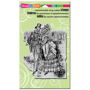 """Stampendous Discontinued Cling Halloween Stamp """"Strolling Skeletons"""" CRR293"""