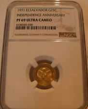 El Salvador 1971 Gold 25 Colones NGC PF-69UC Independence Anniversary