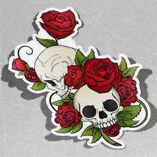 Skull With Red Roses and Leaves Vinyl Sticker Decal Window Car Van Bike 3056