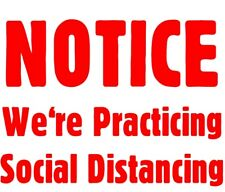 Social Distance Window Wall Decal Notice We're Practicing Socal Distancing Safe