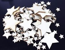 50 Mixed Size Wooden Stars [10mm-40mm] Wedding Table Decoration Scatter Craft