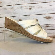 Catherines Cork Wedge Sandals Womens 12W White w/Beads Slip On 2 In Heels  NEW