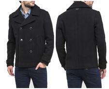 NEW  LEE PREMIUM WOOL PEACOAT BLACK TRENCH COAT JACKET  75% WOOL S/M/XL/XXL