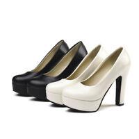 Fashion Womens Block High Heels Round Toe Platform Pumps Casual Work OL Shoes