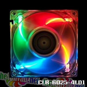 Evercool 60mm x 25mm 4 Color LED Fan + Accessories! Red Green Blue Orange 3 Pin