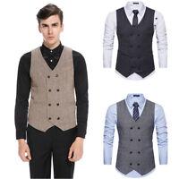 Mens  Retro Waistcoat Formal Business Suit Vest Slim Wedding Casual Coat Tops
