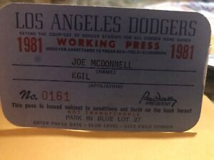 Los Angeles Dodgers 1981 Press Pass Media Credential World Series Champions