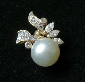 18k Gold Pearl & Diamond Pendant.