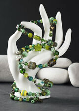 Handmade Boho Style Green and Antique Brass Beaded Wrap Memory Wire Bracelet