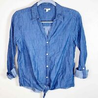 Soft Joie Women's Crysta Dark Blue Chambray Button-Down Shirt Blouse Size S
