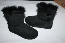 UGG® Australia Kids Bailey Button Boots Girl Size 1 Black #5991 Excellent