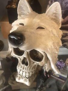 Night Wolf 15.6cm Skull Head Figure NEMESIS NOW UK SELLER