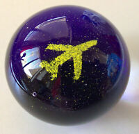 "Vintage Art Glass ""Airplane"" Paperweight ~ 2 1/4"" Height, 9"" Circumference"