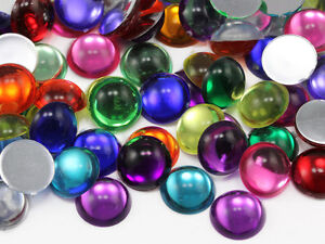 18mm Multi Color Cabochons Round Flat Back  - 100 Pieces
